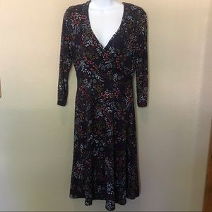 Garnet Hill navy floral faux wrap dress Small